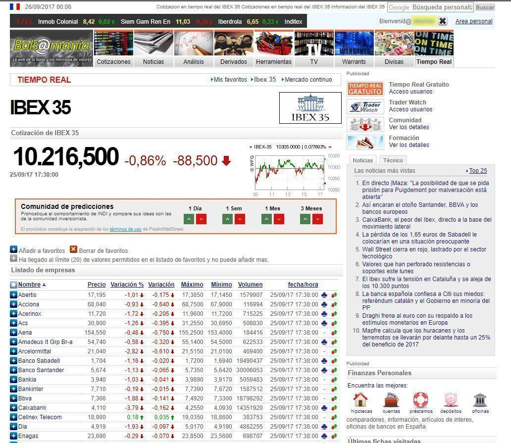 Ibex 35 mercado continuo tiempo real
