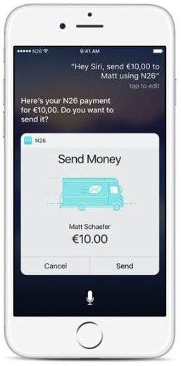 Siri envia dinero con N26