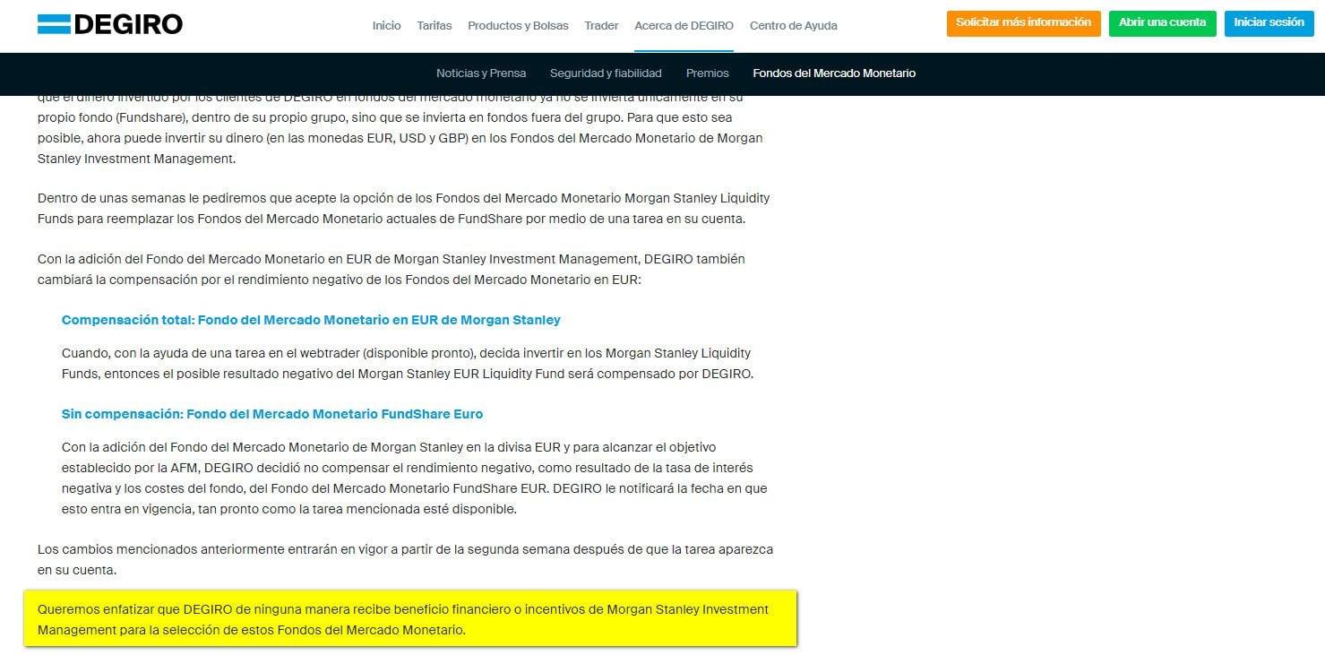 Información de Degiro sobre Fondos Monetarios