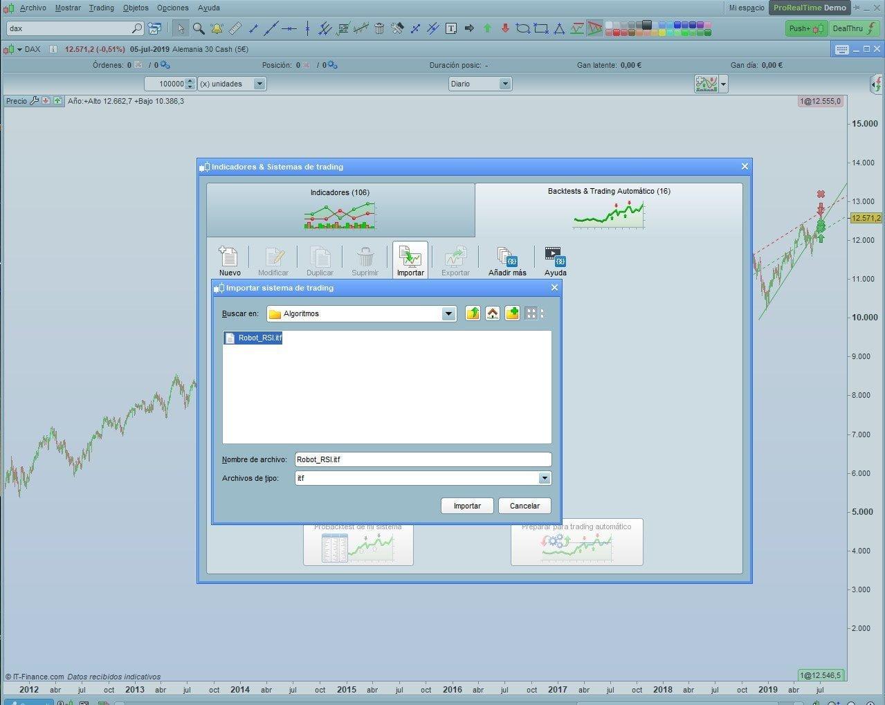 Importar Sistema de Trading
