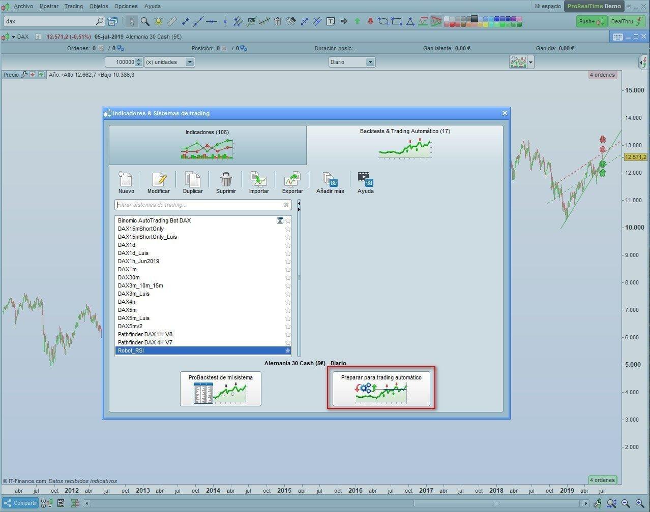 Preparar para trading automático